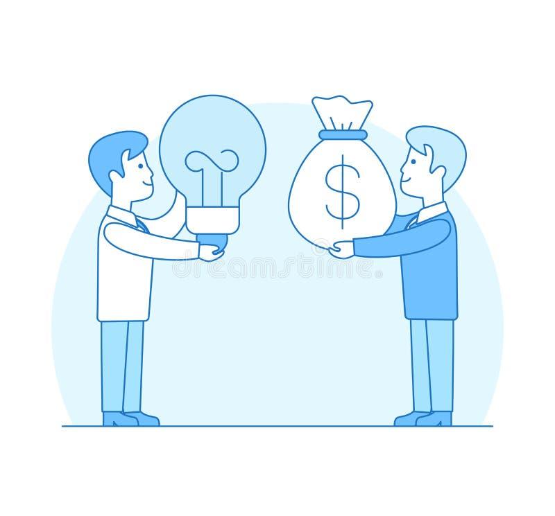 Линейный плоский вклад Ide лампы сумки денег инвестора иллюстрация вектора