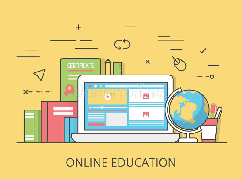 Линейный плоский онлайн вектор вебсайта образования иллюстрация вектора
