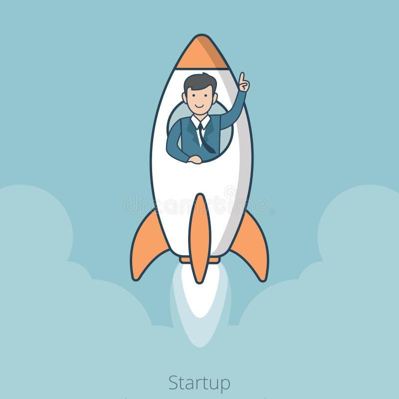 Линейный плоский Startup вектор сети летания ракеты человека иллюстрация штока