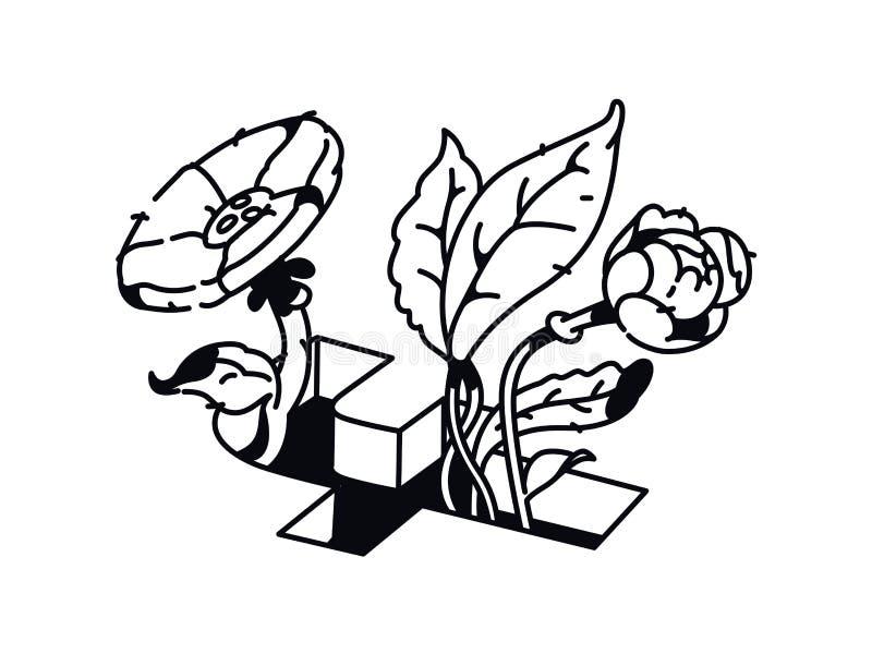 Линейный чертеж цветков в знаке Facebook Татуировка моды r o t Картина футболки Письмо f иллюстрация вектора