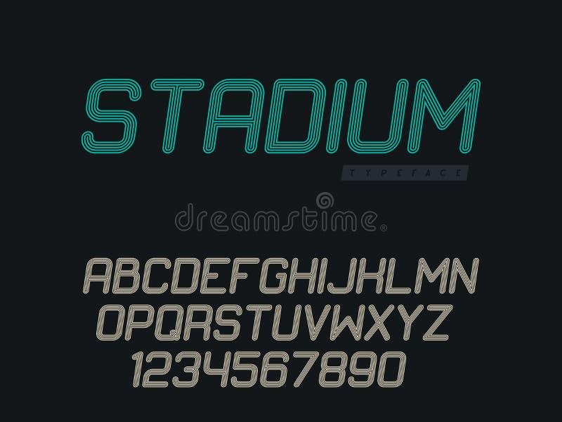 Линейный uppercase шрифт Письма и номера латинского алфавита r бесплатная иллюстрация