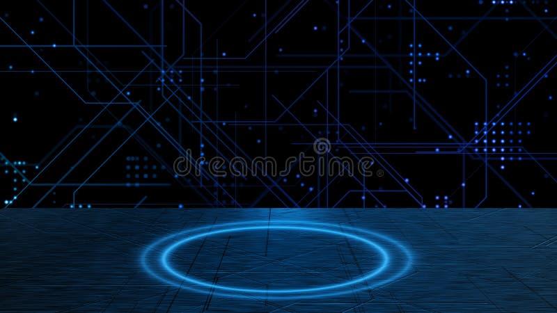 Линии абстрактной технологии и точки зарева на sci fi металлическом и круге зарева голубом Справочная информация Скопируйте космо иллюстрация штока