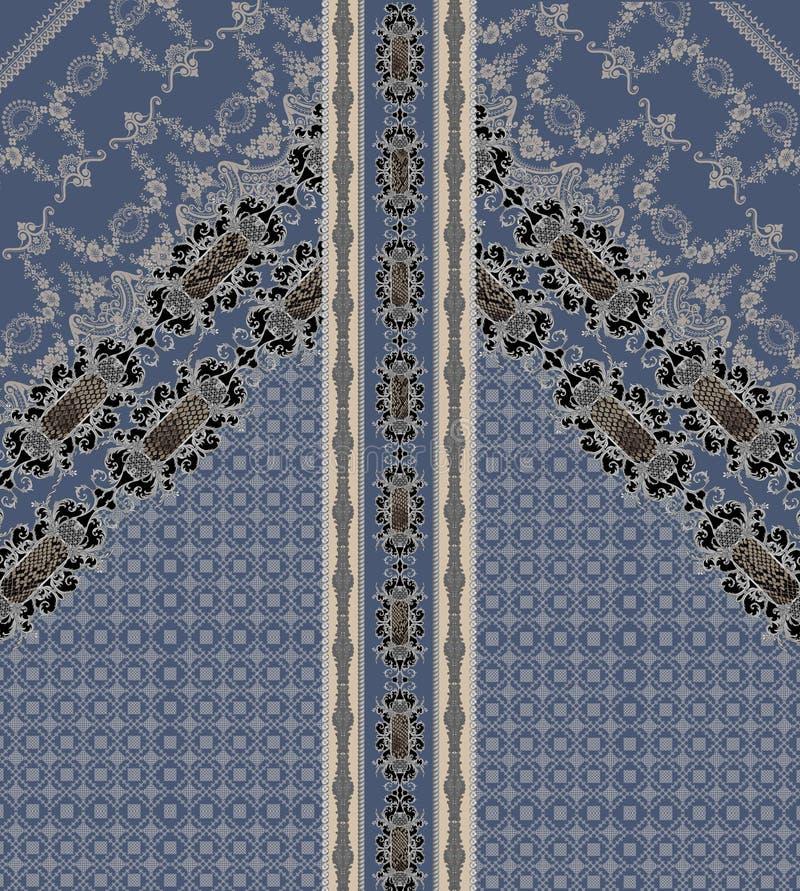 Линии барочного голубого дизайна барочные геометрические стоковые фото