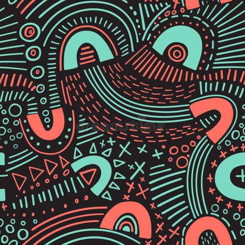 Линии безшовная картина отметки конспекта вектора Смогите быть использовано как предпосылка, картина, упаковочная бумага, фон, об иллюстрация штока
