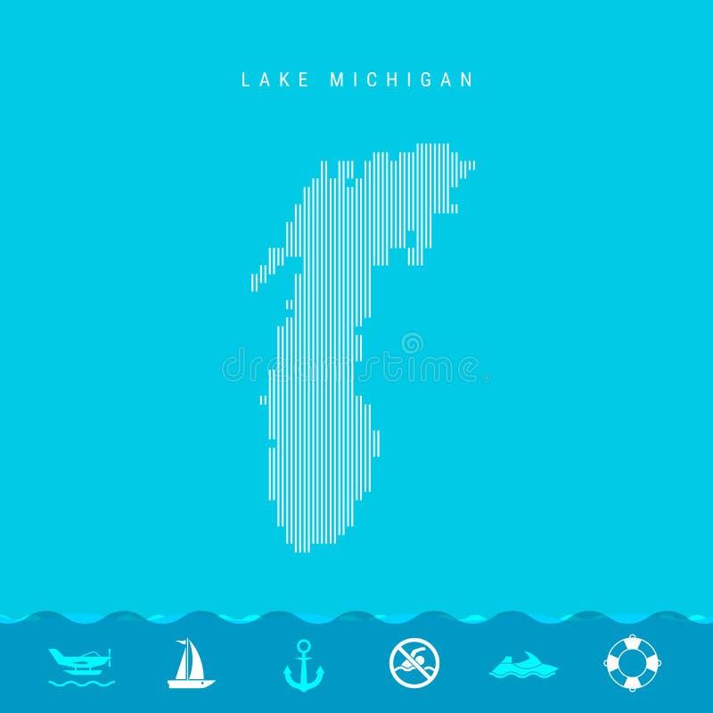 Линии вектора вертикальные делают по образцу карту Lake Michigan Striped силуэт Lake Michigan Личная охрана, значки Watercraft бесплатная иллюстрация