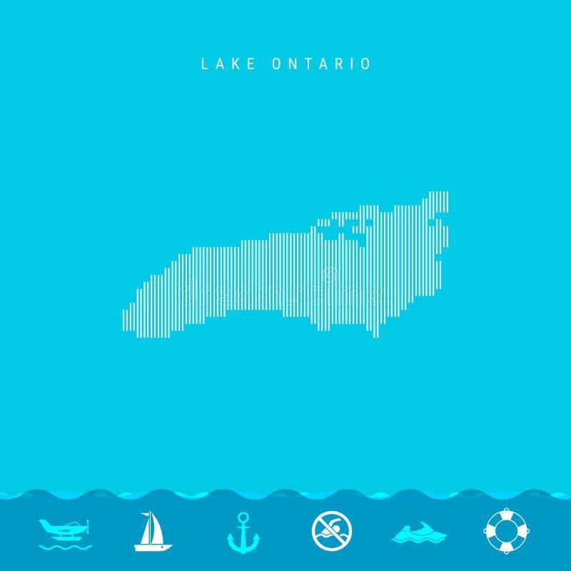 Линии вектора вертикальные делают по образцу карту Lake Ontario Striped силуэт Lake Ontario Личная охрана, значки Watercraft бесплатная иллюстрация
