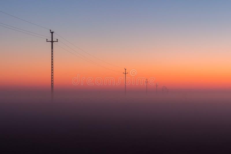 Линии и опоры электропитания исчезают над горизонтом с туманным восходом солнца, заходом солнца стоковые фотографии rf
