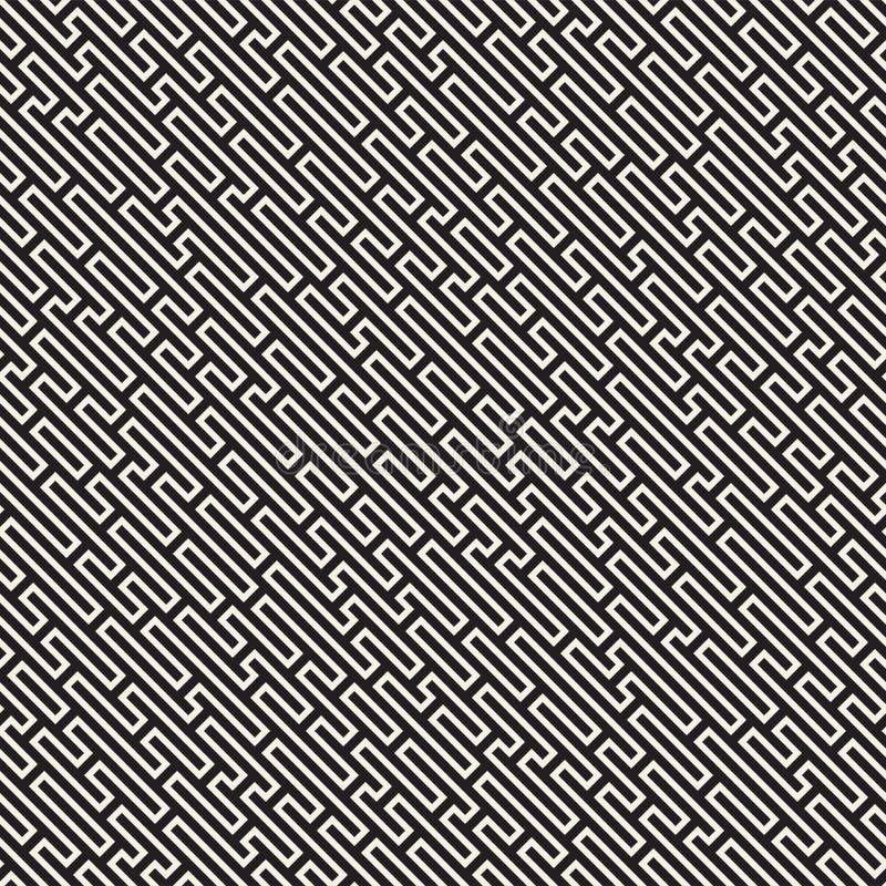 Линии картина вектора безшовные черно-белые лабиринта Абстрактный геометрический дизайн предпосылки нашивок иллюстрация штока