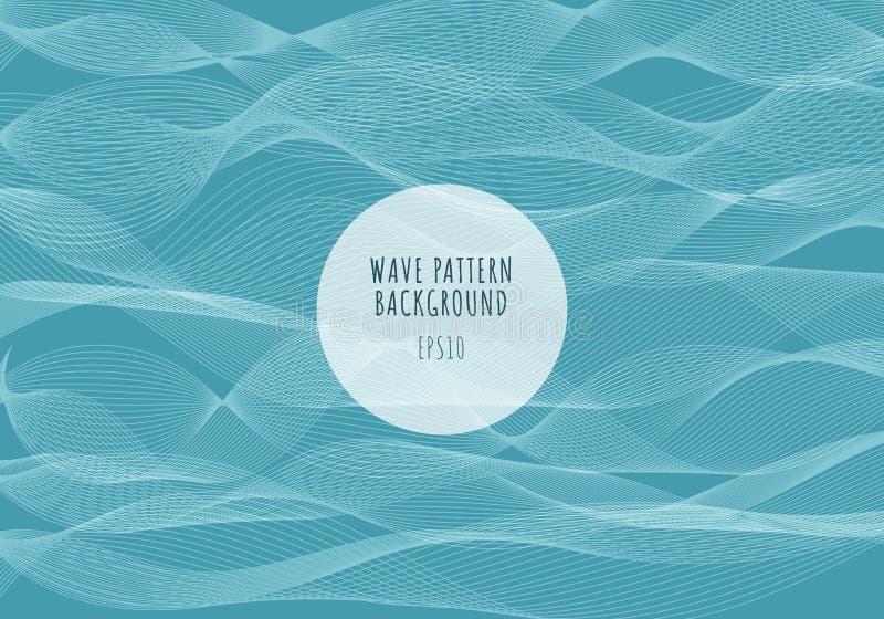 Линии картина моря конспекта белые волн на голубой предпосылке Волнистые нашивки, грубая поверхность иллюстрация вектора