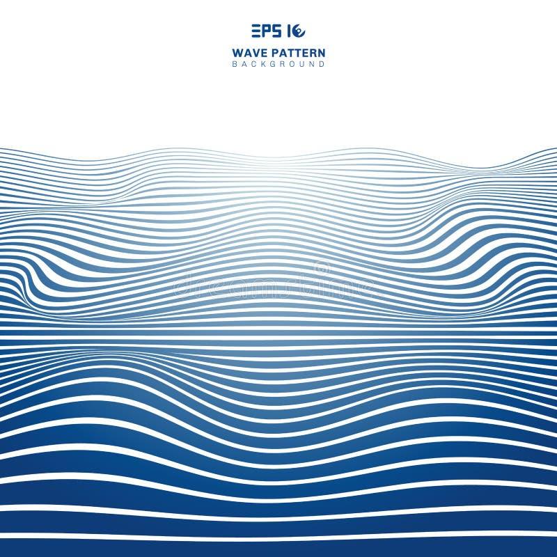 Линии картина нашивок конспекта голубые волнистые волны на белых backhround и текстуре иллюстрация штока