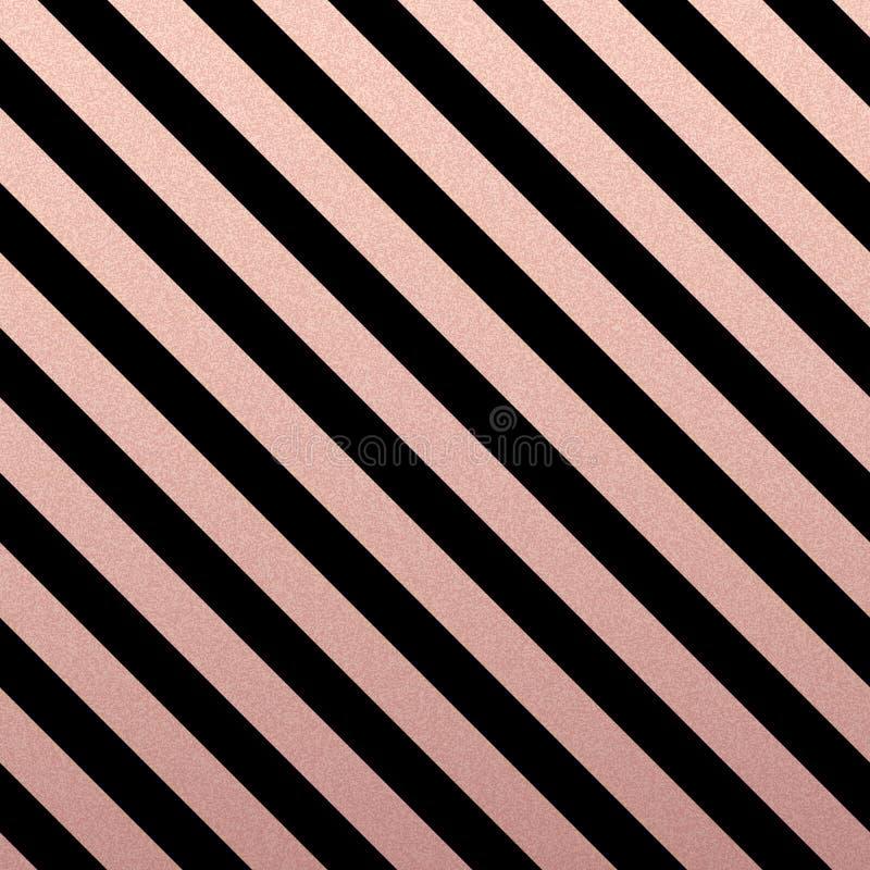 Линии картина розового золота блестящие раскосные на черной предпосылке иллюстрация штока