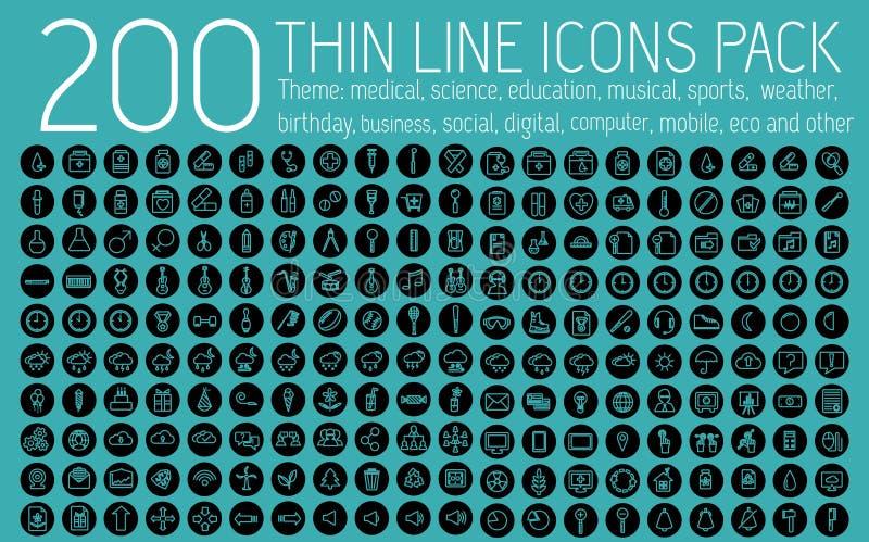 Линии концепция собрания тонкие значка пиктограммы установленная бесплатная иллюстрация