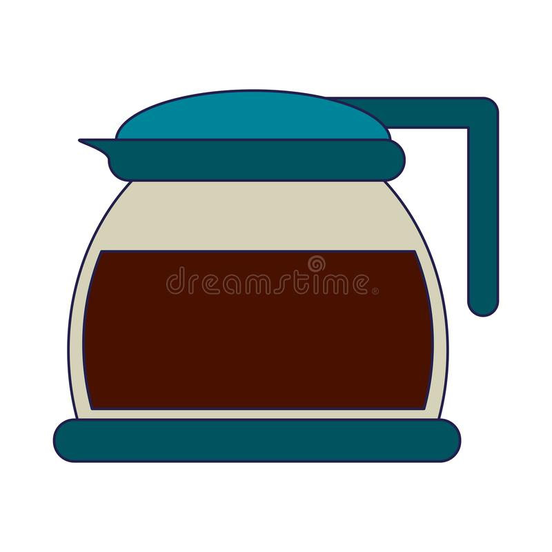 Линии кофе стеклянным изолированные чайником голубые иллюстрация штока