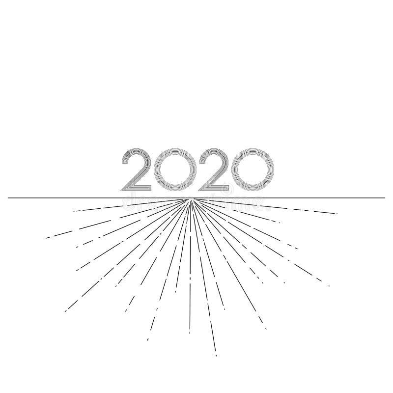 Линии 2020 Новых Годов графические на элементе белой предпосылки творческом для приглашений календаря карт дизайна на Новый Год и иллюстрация штока