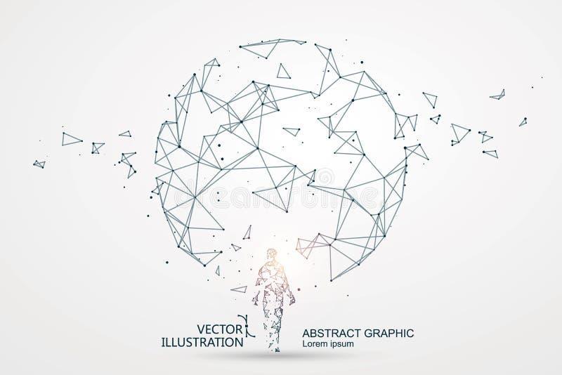 Линии подключенные к сцене научной фантастики иллюстрация вектора