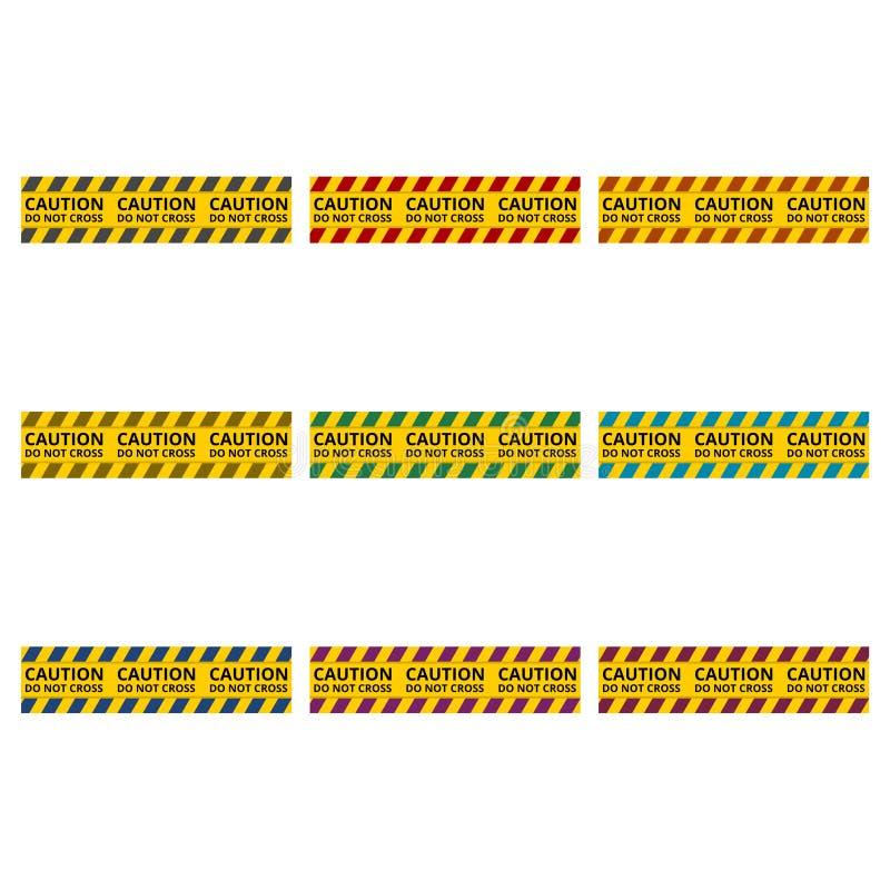 Линии предосторежения изолировали, предупреждающие ленты, знак опасности значок или логотип, набор цвета бесплатная иллюстрация