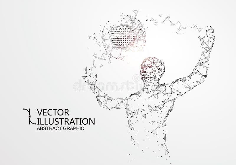 Линии соединились к людям, символизируя смысл искусственного интеллекта иллюстрация вектора