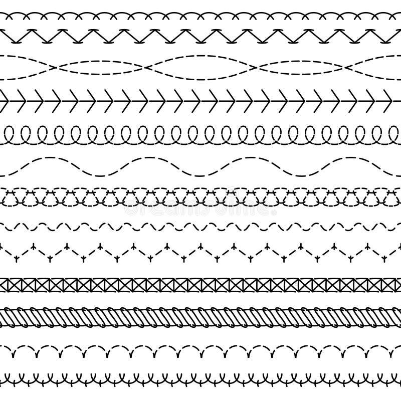 Линии стежком Сшитая безшовная картина продевая нитку границы шить края зигзага потока ткани нашивки шьет ткань бесплатная иллюстрация