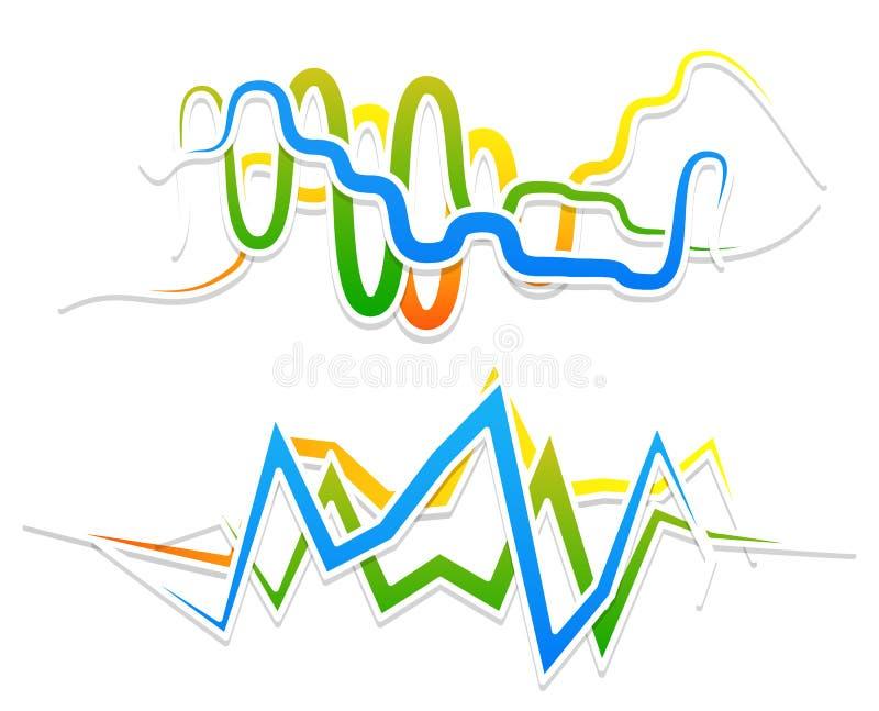 Линии с развевать, billowy влияние Волнистый, линии зигзага иллюстрация вектора