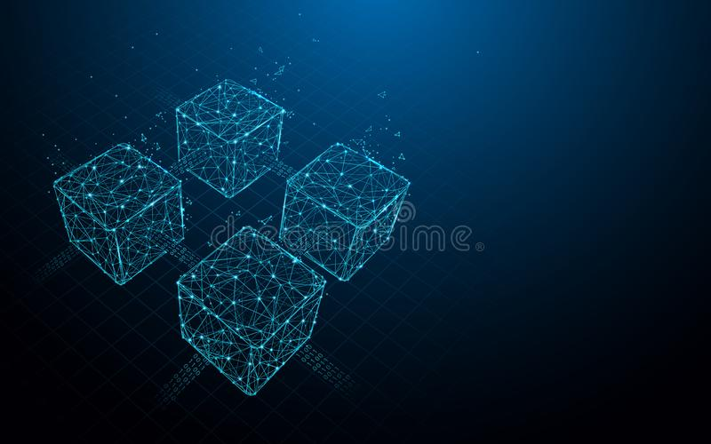 Линии формы Blockchain, треугольники и дизайн стиля частицы иллюстрация вектора