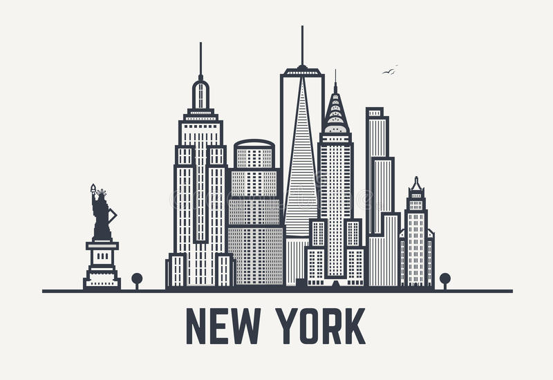 Линии черноты Нью-Йорка иллюстрация вектора