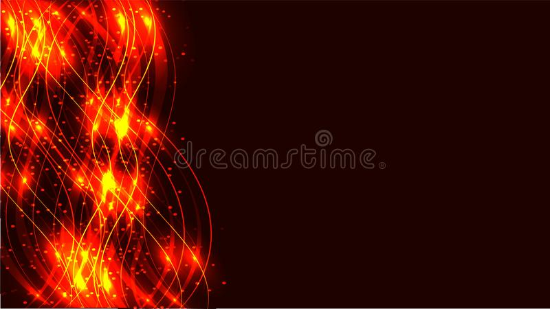 Линии энергии золотого желтого фейерверка прозрачные абстрактные сияющие волшебные космические волшебные, лучи с слепимостью и то иллюстрация вектора