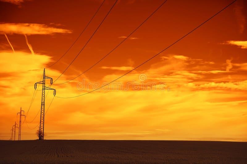 Линии электропередач на заходе солнца стоковое изображение rf