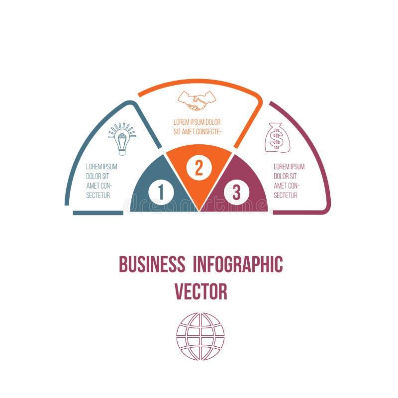 Линии Infographic долевой диограммы красочные с положением текстовых участков 3 иллюстрация вектора