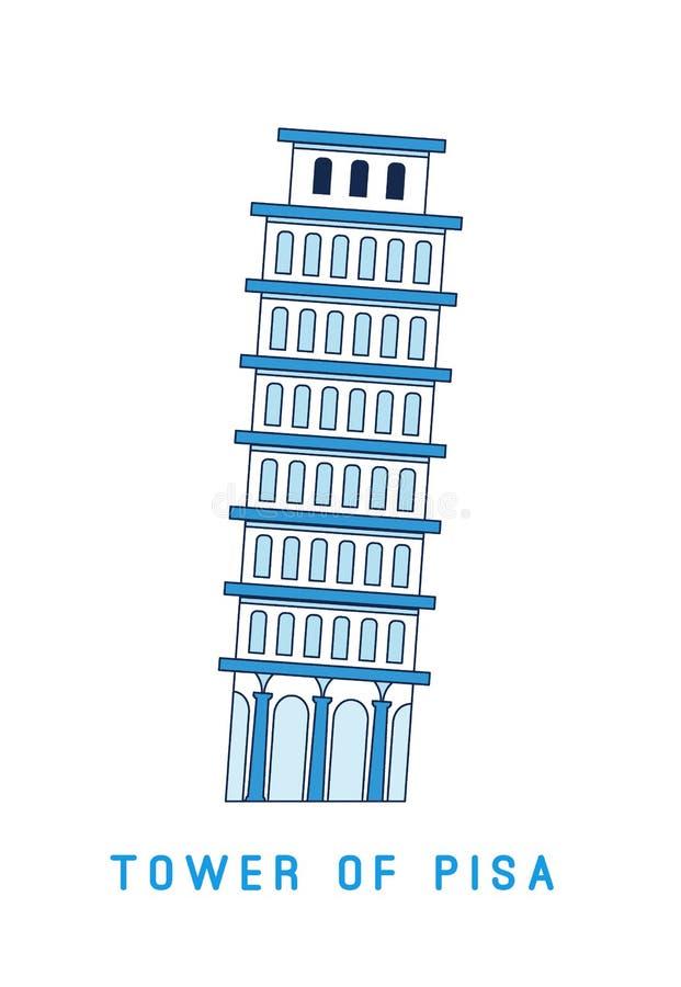 Линия башня склонности искусства Пизы, Италии, европейской известной видимости, иллюстрации вектора в плоском стиле бесплатная иллюстрация