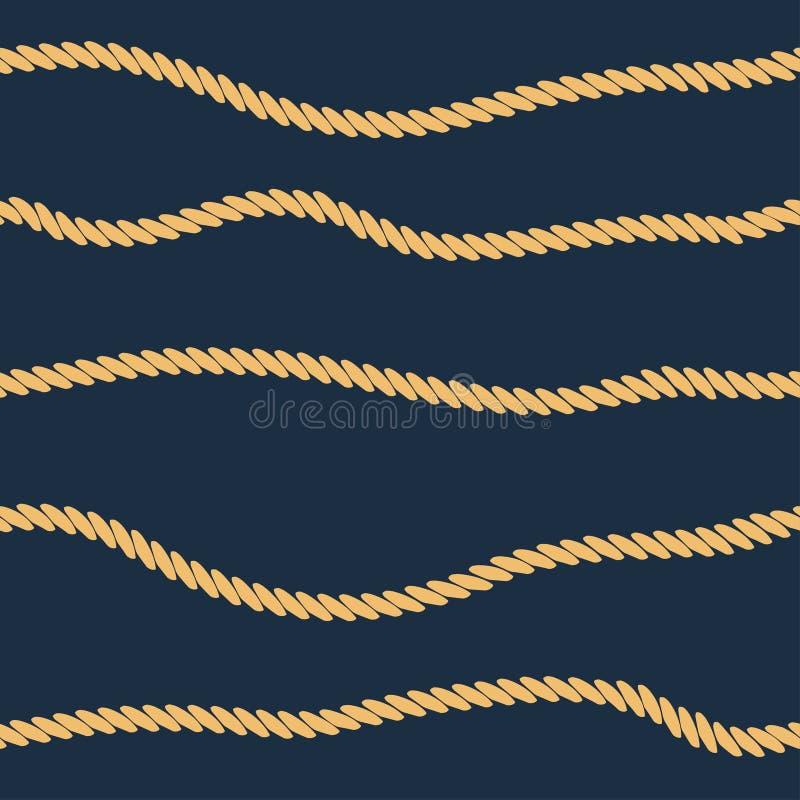 Линия безшовная картина веревочки Предпосылка с морскими нашивками веревочки вектор иллюстрация вектора