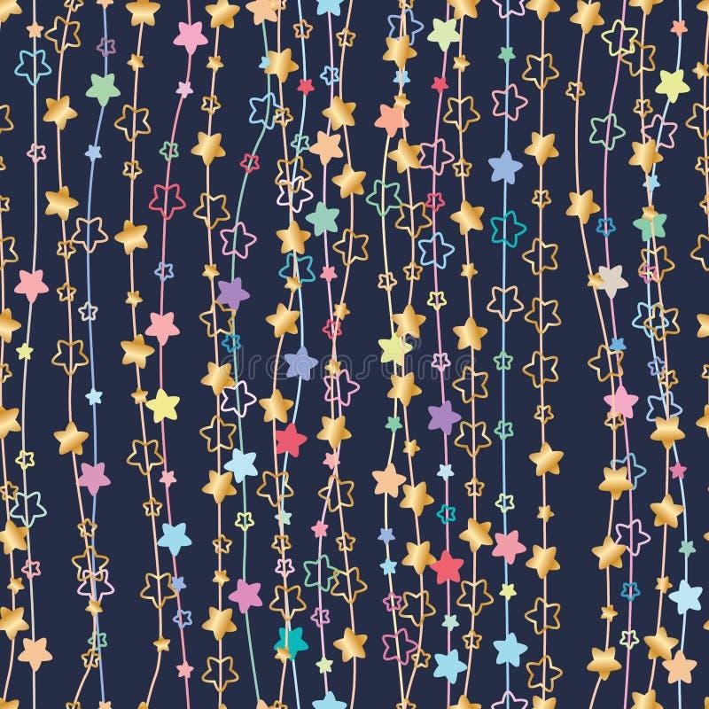 Линия безшовная картина звезды цветка вертикальная иллюстрация вектора