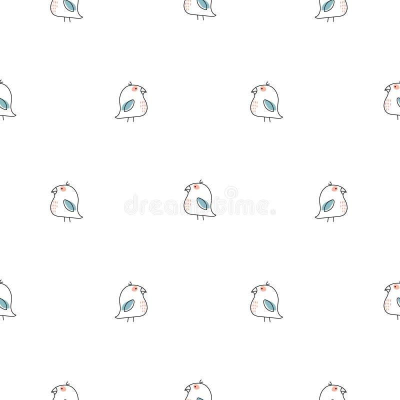 Линия безшовная картина маленьких птиц простая вектора бесплатная иллюстрация