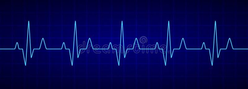Линия биения сердца Голубой cardiogram Электрокардиограмма r иллюстрация штока