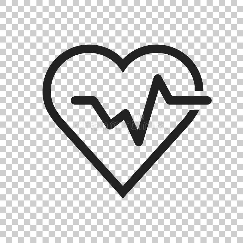 Линия биения сердца с значком сердца в плоском стиле Illustra биения сердца бесплатная иллюстрация