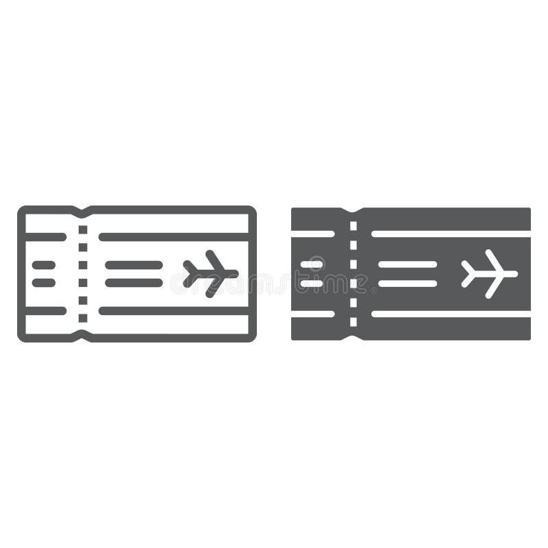 Линия билета аэропорта и значок глифа, перемещение и туризм, векторные графики знака авиакомпании, линейная картина на белом иллюстрация штока