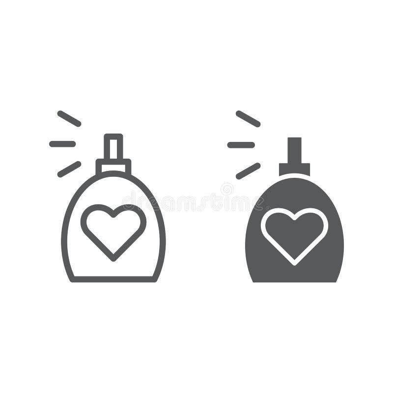 Линия благоуханием и значок глифа, ароматность и любовь, знак духов, векторные графики, линейная картина на белой предпосылке бесплатная иллюстрация