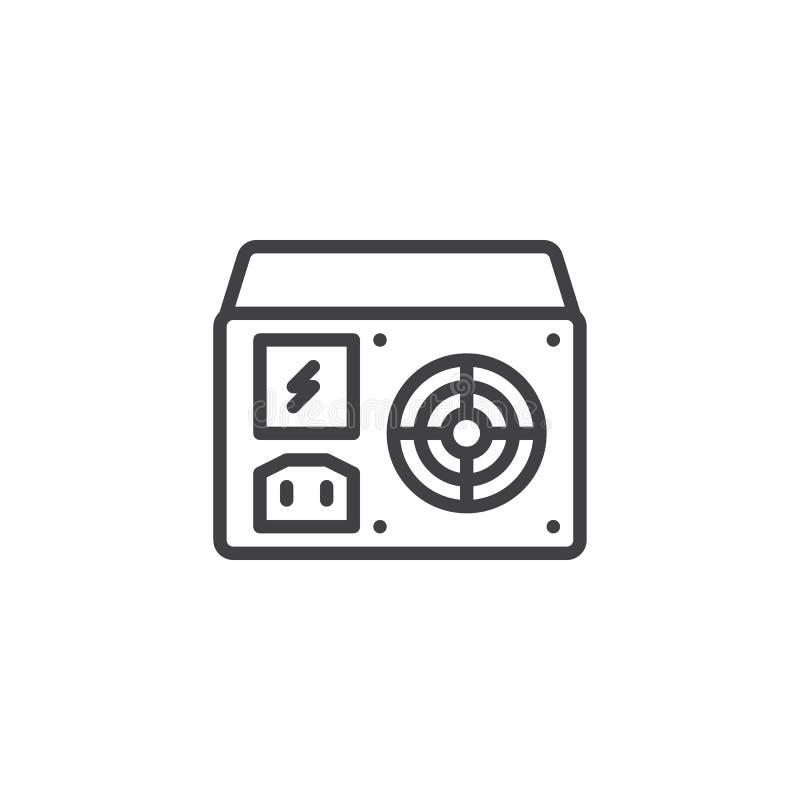 Линия блока значок электропитания иллюстрация штока