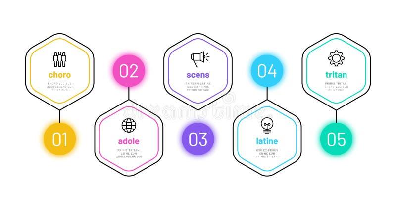 Линия вариант infographic infograph 5 номеров, диаграмма шагов бизнес-процесса со значками плана Диаграмма финансирования проекта иллюстрация вектора