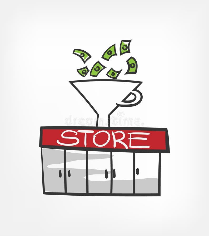 Линия вектора иллюстрации концепции магазина денег воронки иллюстрация штока