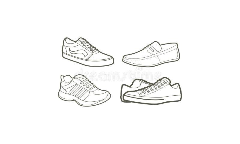 Линия вектор ботинка значка логотипа искусства иллюстрация штока