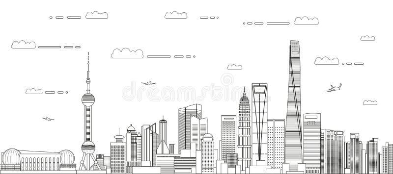 Линия вектор городского пейзажа Шанхая стиля искусства детализировала иллюстрацию abstrct E иллюстрация штока