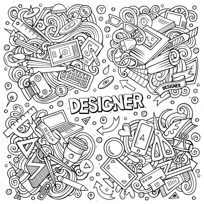 Линия вектор искусства doodles набор мультфильма дизайнерских объектов сочетаний из иллюстрация штока