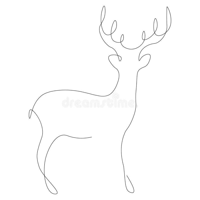 Линия вектор оленей животная притяжки бесплатная иллюстрация