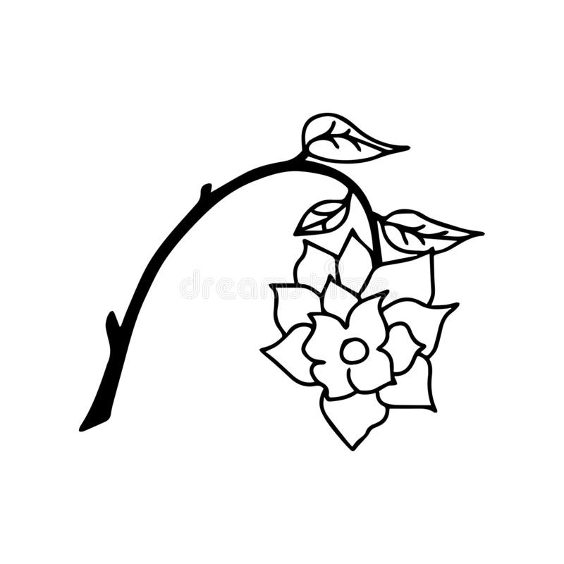 Линия вектор розовой руки вычерченная, искусство роз, логотип иллюстрации иллюстрация штока