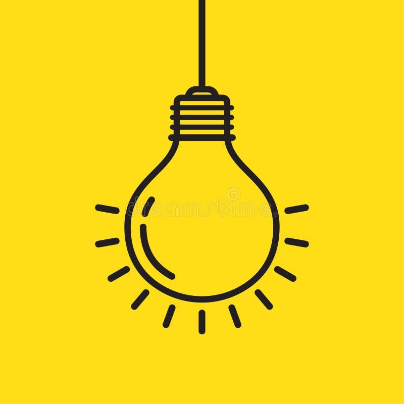 Линия вектор электрической лампочки значка, изолированный на желтой предпосылке бесплатная иллюстрация