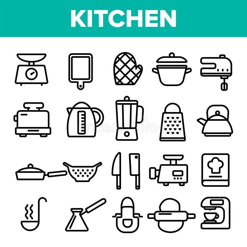 Линия вектор Kitchenware значка установленный Домашний символ инструментов кухни Классический Kitchenware варя значки Тонкая сеть иллюстрация штока