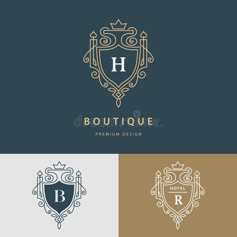 Линия вензель графиков Королевский дизайн логотипа искусства Письмо h, b, r Грациозно шаблон Знак дела, идентичность для ресторан иллюстрация вектора