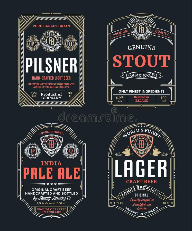 Линия винтажные ярлыки вектора тонкая пива бесплатная иллюстрация
