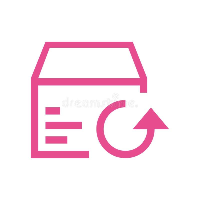 Линия возвращение значка в картонную коробку иллюстрация вектора