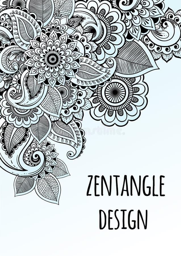 Линия воодушевленный стиль zentangle цветков искусства декоративный вектор шаблона зеленого цвета рамки конструкции Высококачеств иллюстрация штока